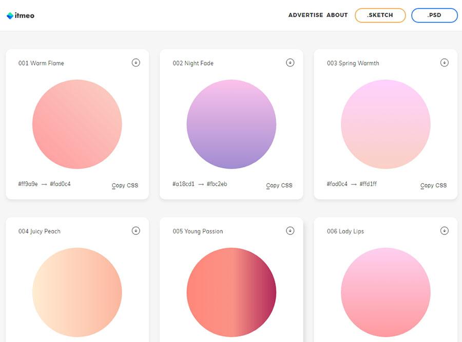 超多美腻的渐变图层样式,来自于webgradients!